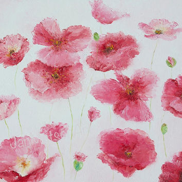 Poppy Painting, POPPIES, poppy art, flower paintings, canvas art, pink flowers, living room art, designer decor,wall art,Etsy Art,Jan Matson