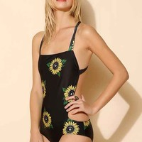 Beach Riot X UO Cross-Back One-Piece Swimsuit- Black Multi