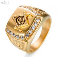 eejart Stainless Steel Freemason Ring Men's Masonic Rings for Men