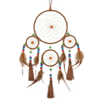 Four-ring Dreamcatcher Wind Chimes Indian Style Feather Pendant Dream Catcher Creative Car Hanging Decoration