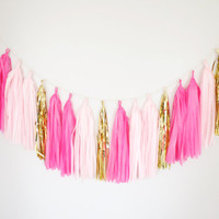Pink Blush and God Tassel Garland - Birthday Party Decor, Cakesmash,  Hot Pink Decor, Nursery Decor, Baby Shower, Pink Decor