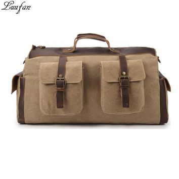 Durable Canvas Leather Travel Bag Men Big Capacity Carry On Luggage Weekend Bags Women Travel Duffel Bag Large Shoulder Bags