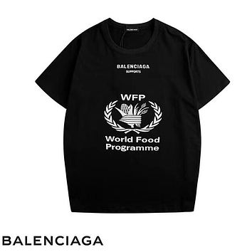 Balenciaga Summer Fashion New Letter Leaf Print And Back Letter Print Couple Top T-Shirt Black