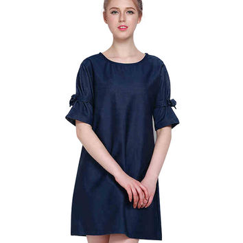 Navy A-line Dress in Loose Fit