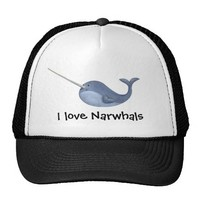 I love Narwhals -custom text - Mesh Hat from Zazzle.com