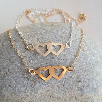 Double Heart Necklace Gold or Silver