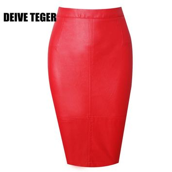 DEIVE TEGER 2017  Back Split Zipper  PU leather Slim Saia Office Women  Straight  Skirt  SL04
