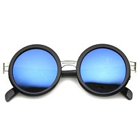 Large Round Frame With Metal Accents Retro Sunglasses 9888