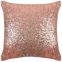 "PONY DANCE Durable Sequins Throw Pillow Cover Solid Sequins Cushion Cover Bling Square Sofa Pillowcase with Hidden Zipper for Xmas Home Decor,18"" x 18"",1 Pack,Champagne Blush"