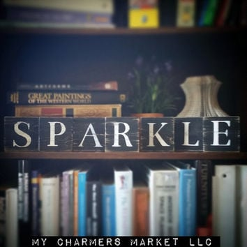 Sparkle Sign, Sparkle Art, Sparkle Tile Letters, Brave Wall Decor, Wooden Letter Blocks, Wood Letter Tiles, Shabby Chic Sign Set, Gift Idea