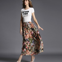 """Wicke Time"" Tee with Floral Maxi Skirt"