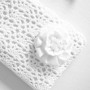 Sparkling Snow White Rossette Crochet Clutch Bag - Rectangular