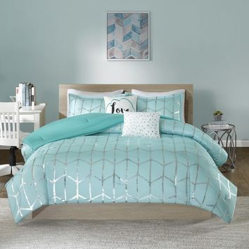 Intelligent Design Khloe Aqua/ Silver 5-piece Comforter Set | Overstock.com Shopping - The Best Deals on Teen Comforter Sets