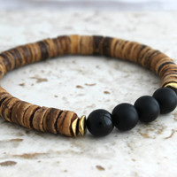 Black Onyx Mens Bracelet w/ Coconut Wood Mens Yoga Bracelet Yoga Jewelry Mens Beaded Bracelet for Man Black Onyx Bracelet for Him Yoga Gifts