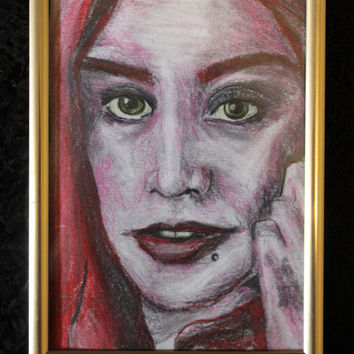 Woman in Red - Original Pencil portrait drawing artwork - Female Face - Framed - Gold Silver frame Girl Piercings portraiture Eilidh Morris
