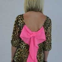 Bow Back Leopard Blouse: Abella Boutique