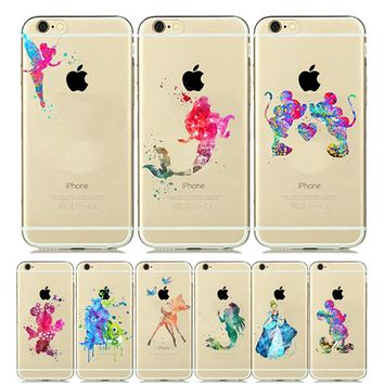 for iPhone 6s Case Mickey Minnie Mouse CLEAR Silicone Cover for iPhone 8 Case Snow White Ariel Mermaid for iPhone6 7 5s SE Plus