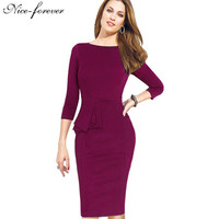 Nice-forever Career Female Peplum Work Dress 3/4 Sleeve O Neck Women Fashion Sheath Elegant Business Bodycon Pencil Dress b228