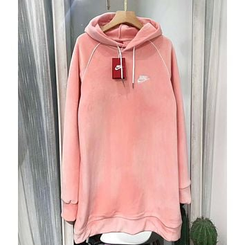 NIKE Autumn And Winter Fashion New Bust Embroidery Letter Velvet Hooded Long Sleeve Sweater Top Pink