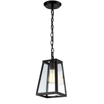 Vintage Inspired Glass Pendant Light With Black Chain - Bulb Included