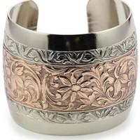 1928 Jewelry Prominence Silver-Tone and Copper Cuff Bracelet - Like Love Buy