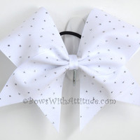 3 Wide Luxury Cheer Bow  White w/Silver by BowsWithAttitude
