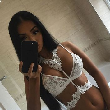 DCCKF4S KL966 Sexy halter lace embroidery crop top summer beach cami women corset high quality white black bralette