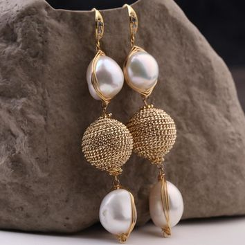 Pearl Drop Earrings Handmade Woven Baroque