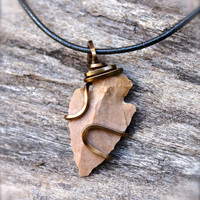 Arrowhead Jewelry - Bohemian Jewelry - Gypsy Boho Necklace - Arrowhead Necklace - Leather Jewelry for Men - Natural Stone Necklace for Men