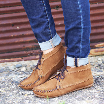 Suede Ankle Boot By Minnetonka {Dusty Brown}