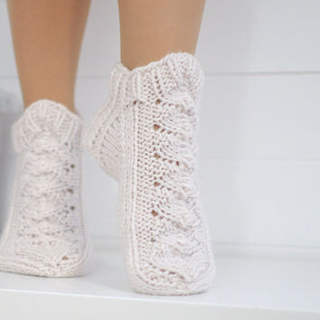Knit slipper socks natural white - 100% wool slippers - Woolen socks hand knitted