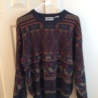 oversized hipster navajo sweater // cosby sweater // trendy 90s sweater