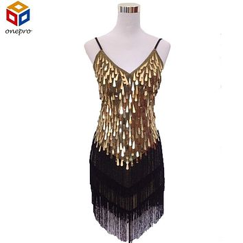 Shining V Neck Stage Clothing  Costume Latin Dance Dresses Women's Art Deco 1920s Gatsby Tassel Fringe Flapper Backless Dress