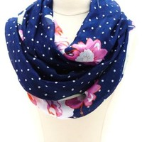 Polka Dot & Floral Print Infinity Scarf by Charlotte Russe - Navy