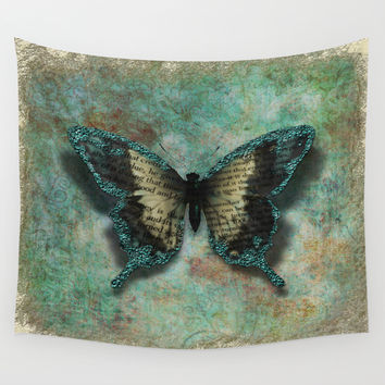Turquoise Wings Wall Tapestry by Lena Photo Art