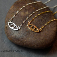 Eye Symbol Charm Pendant / Gold or Silver Chain Necklace / Dainty Delicate necklace / Simple Necklace | Evil Eye Necklace
