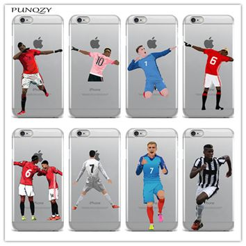 Sport Football Soccer Star Cristiano Ronaldo Messi pogba Case For iphone 6 6S 7 7Plus 5S soft Silicone Mobile phone shell cover