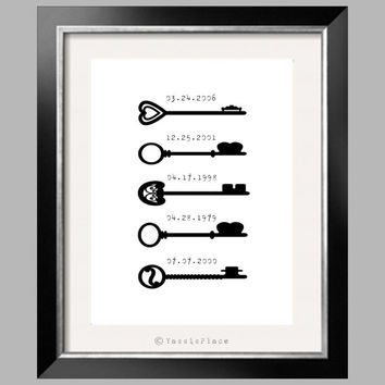 Special Dates Print, Skeleton Keys, Wall decor, Anniversary Gift, black and white wall art 8x10 by Yasisplace FRAME NOT INCLUDED