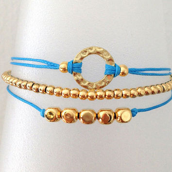 Triple Gold and Turquoise Friendship Bracelet with Adjustable Cord