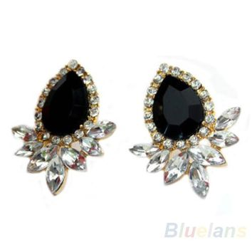 Black Heart  Drop Ear Studs Earrings for Women