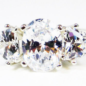 White CZ Three Stone Ring Sterling Silver, Cubic Zirconia Ring, Sterling Silver Cz Ring, 925 Cz Ring, Engagement Ring, Three Stone Ring