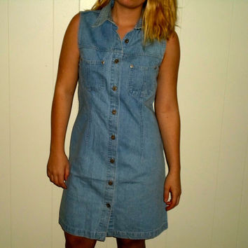 90s Denim Polo Button Up Dress, Collared Light Wash Jean Dress