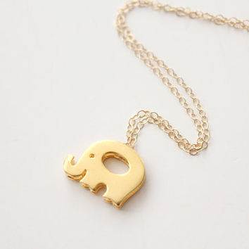 Gold Elephant Necklace - Little Baby Elephant - Herman