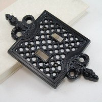 Ornate Vintage Black Filigree Double Light Switch Cover