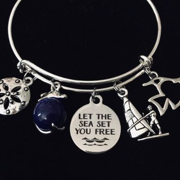 Let the Sea Set you Free Nautical Expandable Charm Bracelet Silver Adjustable Bangle Wind Surfing One Size Fits All Gift Dolphin Sand Dollar