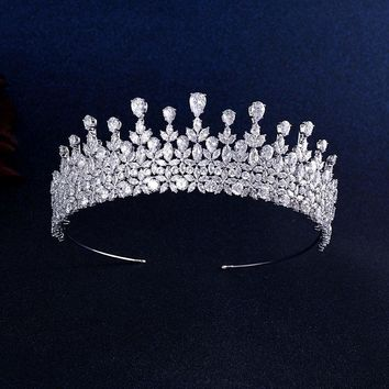 Top Quality Wedding Bridal Bridesmaid Leaf Cubic Zirconia Tiara Crown