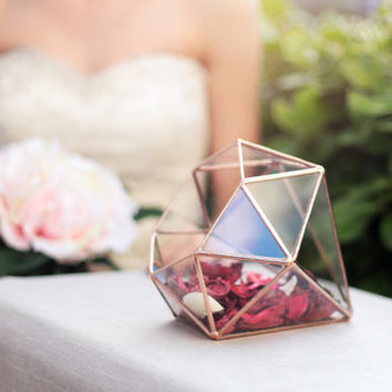 Diamond Terrarium / Geometric Glass Terrarium / Jewelry Box / Sweetheart Table Centerpiece / Fall - Winter Wedding Decor / Copper Planter