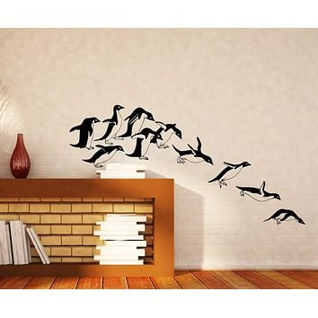 Large Wall Vinyl Decal Jumping Penguins Funny Children's Decor Unique Gift z4524