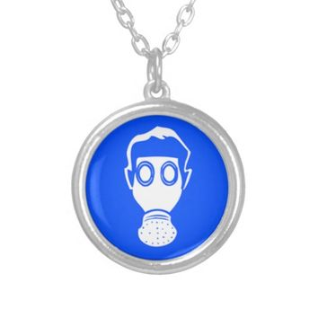 Round Necklace, Gas Mask Round Pendant Necklace
