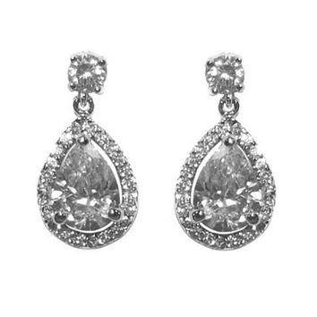 Polly Pear Cut Halo Drop Earrings | 6ct | Cubic Zirconia | Silver